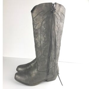 Rampage Shoes - Womens Gray Silver Pewter Distressed Telula Boots